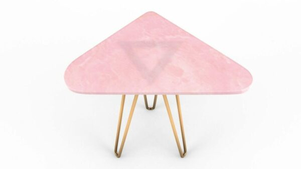 Table d'appoint triangulaire en onyx rose