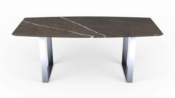 Table à manger en forme de biscuit en marbre pietra grey