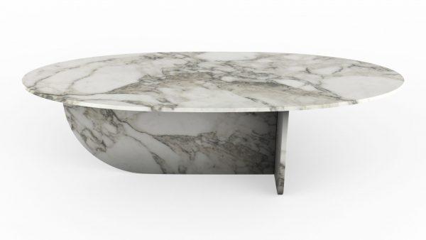 Table basse en forme d'hélice en marbre blanc calacatta oro