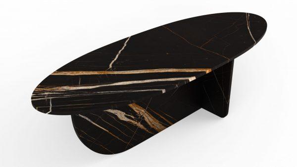 Table basse en forme d'hélice en marbre noir dorato