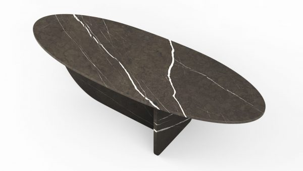 Table basse en forme d'hélice en marbre pietra grey