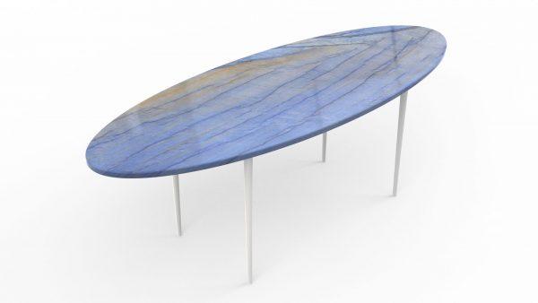 Table basse en forme de planche de surf en quartzite azul macaubas