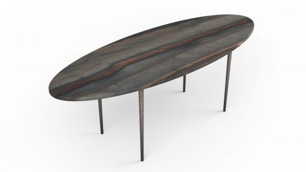 Table basse en forme de planche de surf en quartzite elegant brown