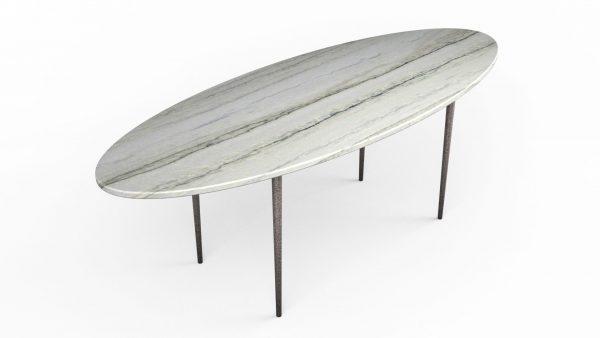 Table basse en forme de planche de surf en quartzite white macaubas