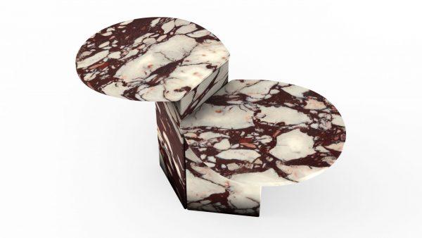 Tables gigognes en marbre calacatta viola