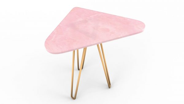 Table basse / d'appoint triangulaire en onyx rose