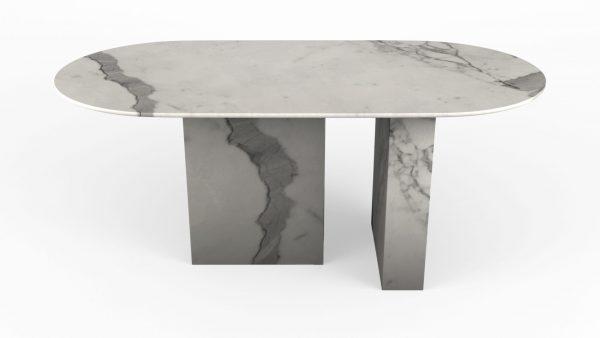 Table à manger de forme ovoïdale en marbre blanc calacatta venato