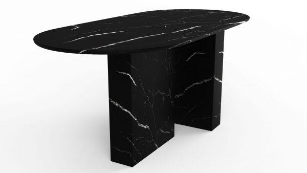 Table à manger de forme ovoïdale en marbre noir marquina