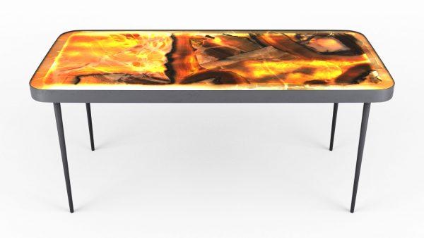 Table basse rétro-éclairée en onyx arco iris allumée