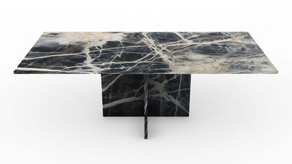 Table basse rectangulaire en marbre black jungle