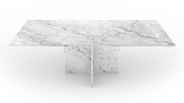 Table basse rectangulaire en marbre blanc carrare