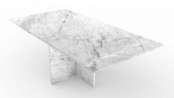 Table basse rectangulaire en marbre blanc carrare
