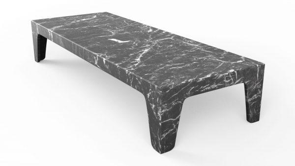 Table basse rectangulaire en marbre grigio carnico