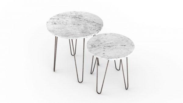 Tables gigognes rondes en marbre blanc carrare