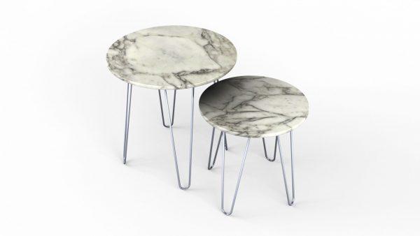 Tables gigognes rondes en marbre calacatta oro