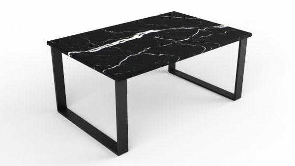 Table basse rectangulaire en marbre noir marquina