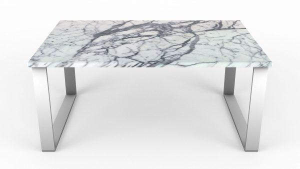 Table basse rectangulaire en marbre blanc statuarietto extra