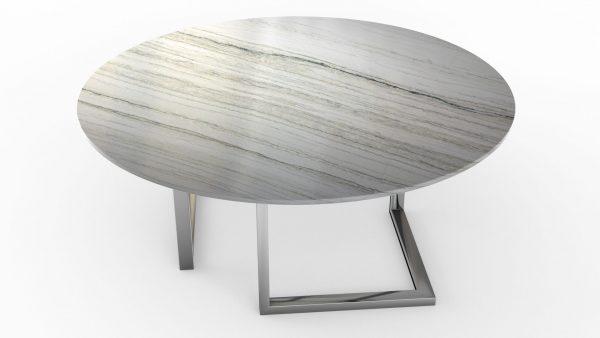 Table à manger ronde en quartzite white macaubas