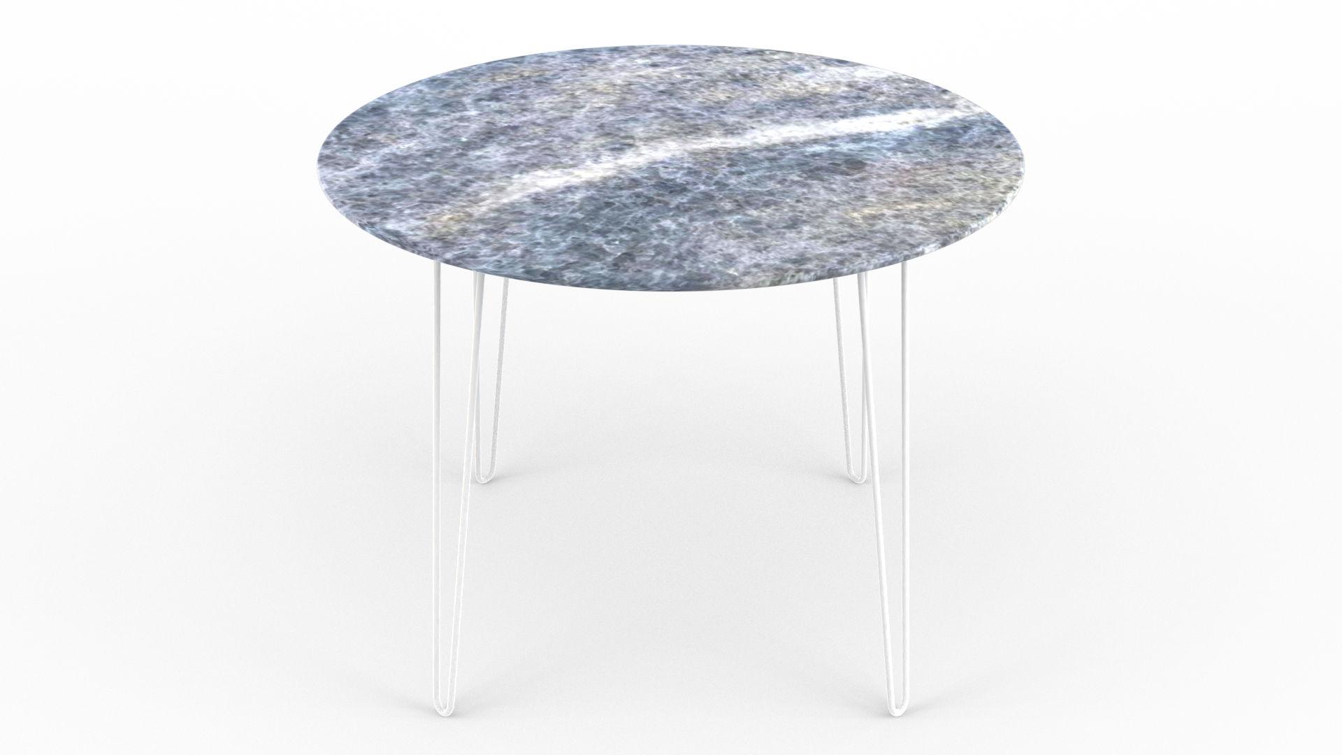 Le retour du mobilier en marbre avec ici une table à manger en marbre calcite iceberg azulata