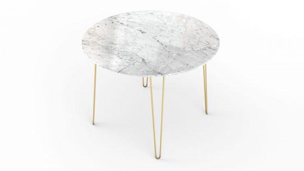 Table à manger ronde en marbre blanc carrare