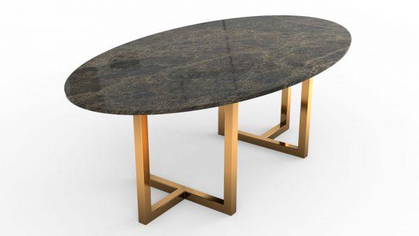 Table à manger de forme ovale en marbre emperador