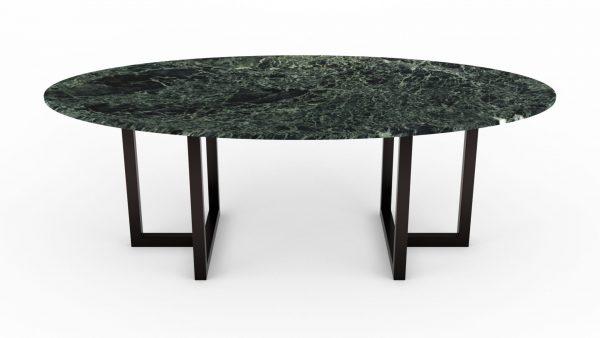 Table à manger de forme ovale en marbre verde alpi st denis