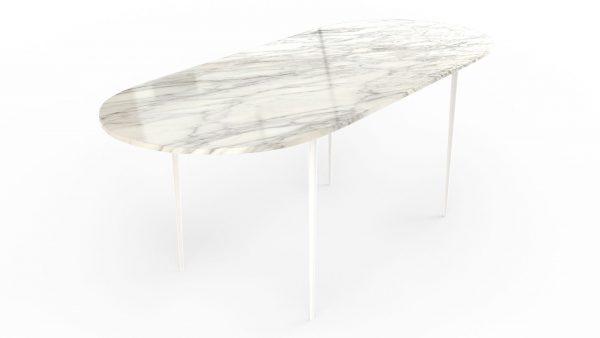 Table à manger de forme oblongue en marbre blanc arabescato