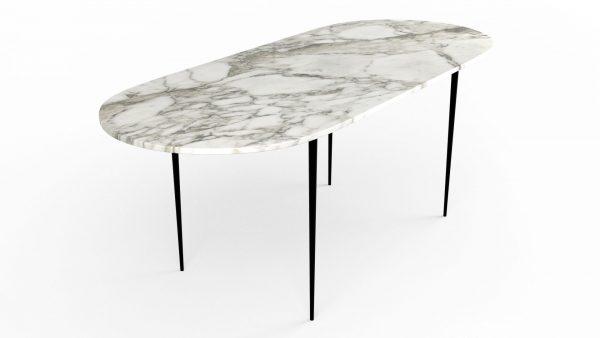 Table à manger de forme oblongue en marbre blanc calacatta oro