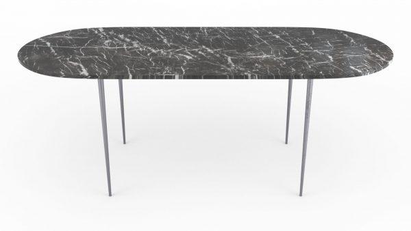 Table à manger de forme oblongue en marbre grigrio carnico