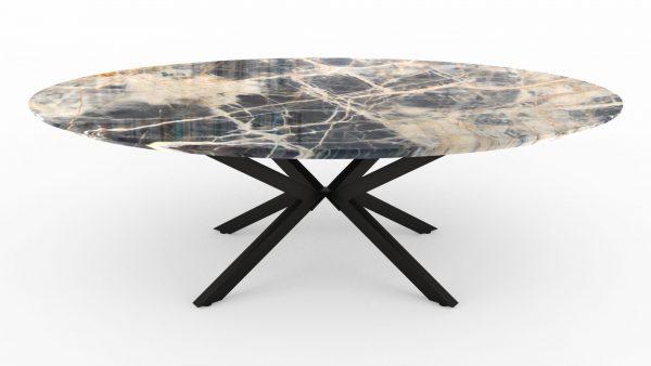 Table à manger de forme ovale en marbre black jungle