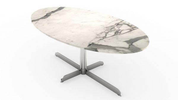 Table à manger ovale en marbre blanc calacatta venato