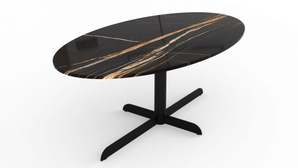 Table à manger ovale en marbre noir dorato
