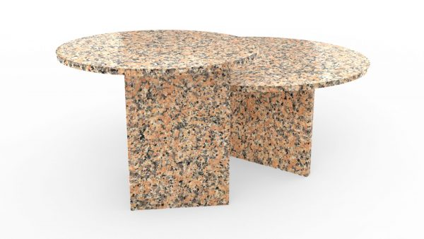 Tables gigognes rondes en granite rosa porrino
