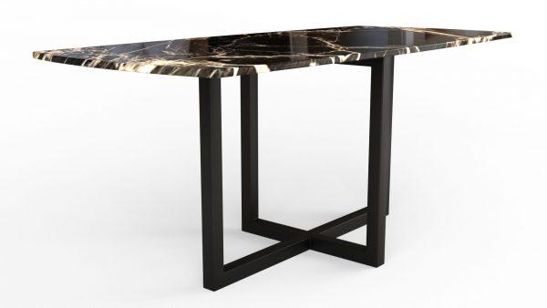 Table à manger en forme de biscuit en marbre calacatta noir