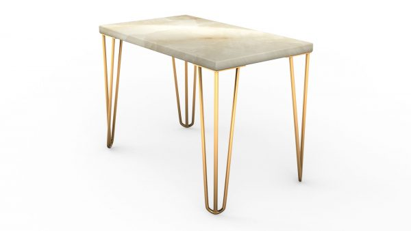 Table basse rectangulaire en onyx blanc