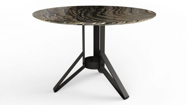 Table à manger ronde en marbre black wood