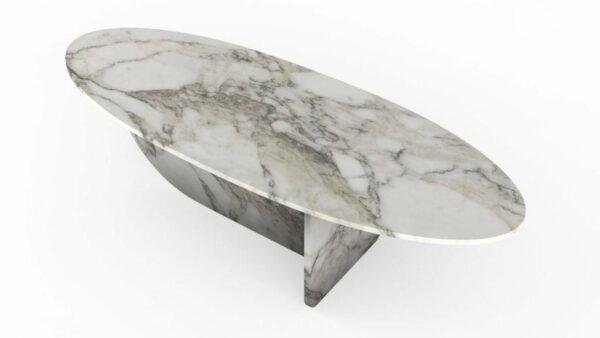 Table basse en forme d'hélice en marbre calacatta oro