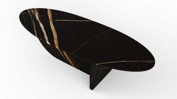 Table basse en forme d'hélice en marbre nero dorato