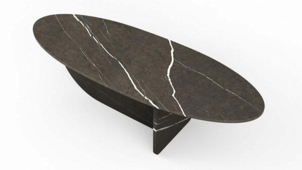 Table basse en forme d'hélice en marbre pietra grigio