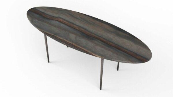 Table basse en forme de planche de surf en quartzite elegant brown