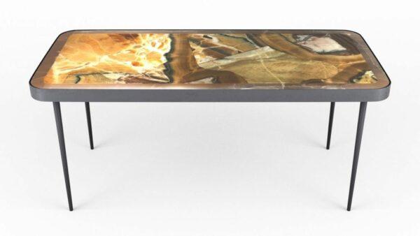 Table basse en onyx arco iris