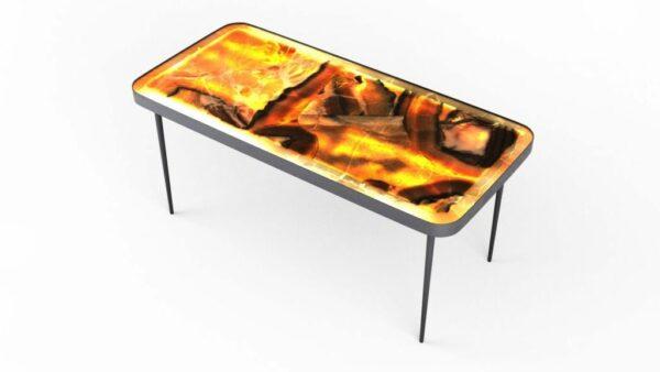 Table basse rétro-éclairée en onyx arco iris