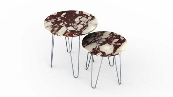 Tables gigognes rondes en marbre calacatta viola