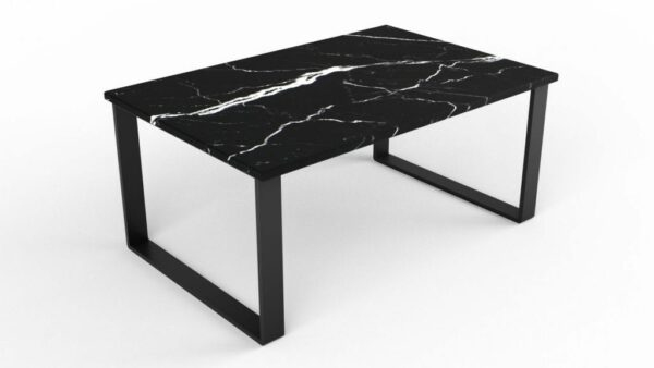 Table basse rectangulaire en marbre nero marquina