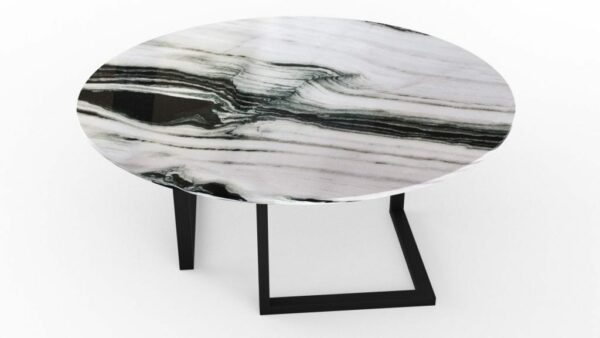 Table à manger ronde en marbre panda white