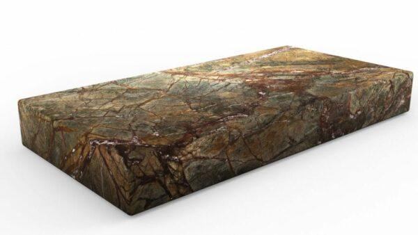 Table basse rectangulaire en marbre rain green forest