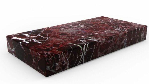 Table basse rectangulaire en marbre rosso levanto