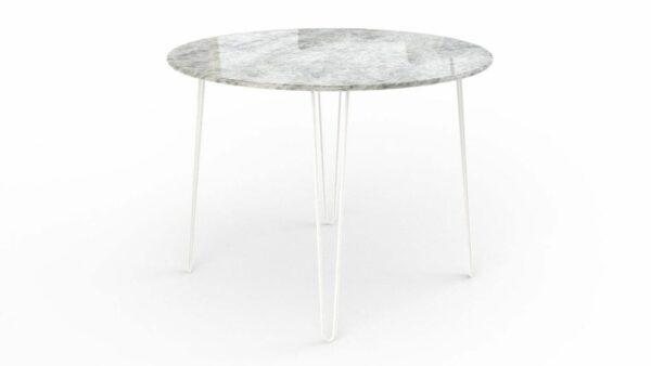 Table à manger ronde en marbre calcite iceberg