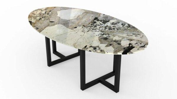 Table à manger de forme ovale en quartzite patagonia