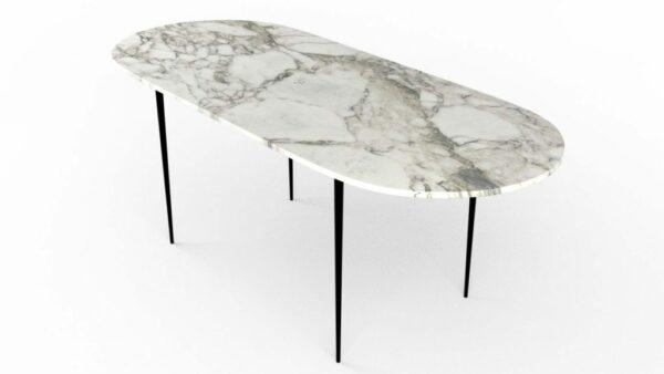 Table à manger de forme oblongue en marbre calacatta oro
